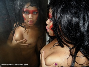 Bodacious tropical teen in war paint exposing her fresh love holes - XXXonXXX - Pic 8