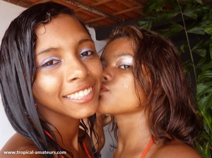 Two nasty exotic girl posing in bright bikinis kissing - XXXonXXX - Pic 8