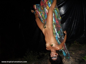 Hot tropical chick with her face in war paint bound upside down to the ritual pole - XXXonXXX - Pic 2