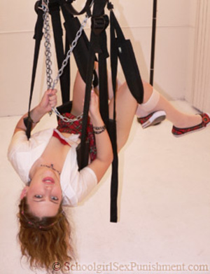 Teen gal stretched and bound to sticks with a dildo in her pooper - XXXonXXX - Pic 2