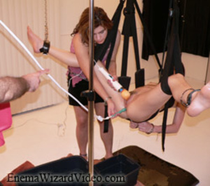 Brunette teeny with breads gag-balled and suspended for various perverted tricks - XXXonXXX - Pic 2