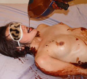 Brunette teen in a blindfold getting all oiled with chocolate - XXXonXXX - Pic 3