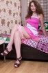 Brown hair young chick takes off cute pink dress…