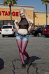 Nasty blonde chick in ripped purple tights gets…