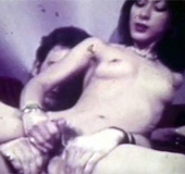 Hot vintage chick caught masturbating on a couch…