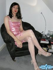 Pretty in glossy pink dress as an alluring - XXX Dessert - Picture 1