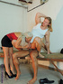 Bisexual threesome goes wild in an army basement