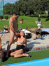 Poolside bisex orgy features hot weather and cum