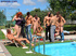 Poolside reception ends with bi cocks spraying cum