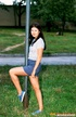 Sweet and shy amateur shows off in the park