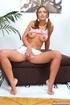 Curvy blonde hottie stuffs her big dildo