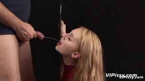 Young cute blonde opens mouth for guy to piss in it as she sucks dripping cock - XXXonXXX - Pic 2