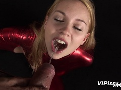 Young cute blonde opens mouth for guy to piss in - XXXonXXX - Pic 6