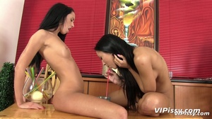 Two hot chicks piss in glasses and each other before hard fist fucking - XXXonXXX - Pic 8