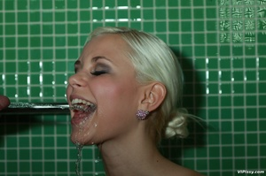 Happy blonde shows ass and pussy and sucks cock to spray her with hot piss - XXXonXXX - Pic 9