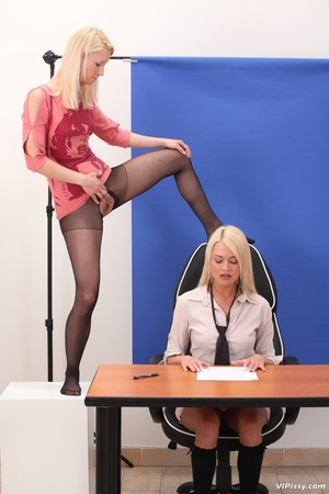 Office blonde gets drenched with piss and she pisses in friend's mouth - XXXonXXX - Pic 2