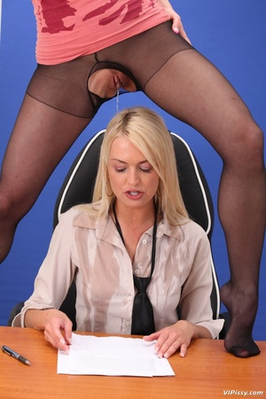 Office blonde gets drenched with piss and she pisses in friend's mouth - XXXonXXX - Pic 4