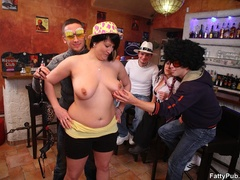 BBW sex action as three fat kinky chicks enjoy sex party - Picture 5