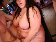 BBW sex action as three fat kinky chicks enjoy sex party - Picture 11