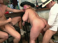 Naughty fat chick takes on two horny guys sucking cock - Picture 4