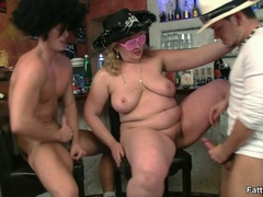 Naughty fat chick takes on two horny guys sucking cock - Picture 11