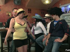 Fat chicks show no shame striping nude in bar to suck - Picture 4