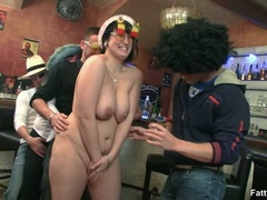 Fat chicks show no shame striping nude in bar to suck - Picture 8