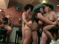 Fat chicks show no shame striping nude in bar to suck - Picture 16