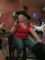 Three fat chicks in bar joined by three - Picture 1