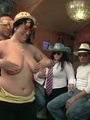 Three fat chicks in bar joined by three - Picture 4