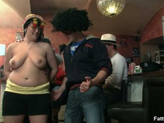 Three fat chicks in bar joined by three guys for BBW - Picture 5