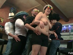 Three hot BBW fat ladies go kinky licking, sucking cock - Picture 8