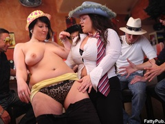 Fat chicks suck tits and cock as guys lick and fuck - Picture 8