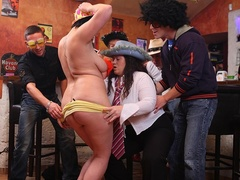 Fat chicks suck tits and cock as guys lick and fuck - Picture 10