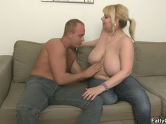 Fat blonde chick is crazy for hard cock and sucks it - Picture 5