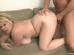 Fat chick engages guy in big tits licking and cock - Picture 12