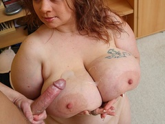Fat chick decides to exercise by vigorous cock sucking - Picture 16