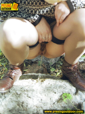 Cute short hair blonde bends down to take a piss out in the woods in early autumn - XXXonXXX - Pic 13