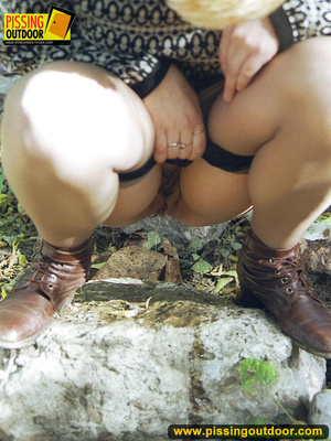 Cute short hair blonde bends down to take a piss out in the woods in early autumn - XXXonXXX - Pic 15