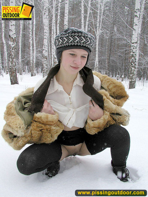 Cute white teen in fur coat, shirt and pantyhose takes an piss in the snow - XXXonXXX - Pic 10