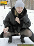 Pregnant young teen in jacket and pantyhose…