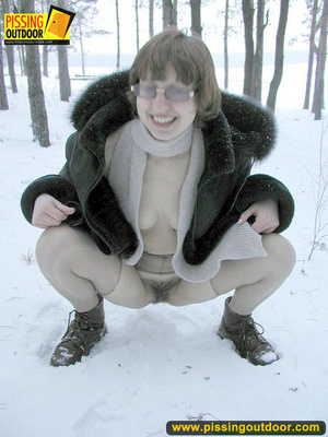 Kinky teen in glass bends to piss in the snow revealing tits and cute bushy pussy - XXXonXXX - Pic 5