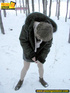 Kinky teen in glass bends to piss in the snow…