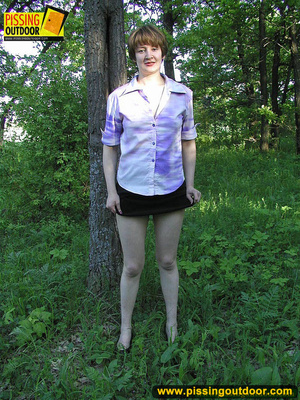 Nature lover takes off panties and raises short skirts to piss in the woods - XXXonXXX - Pic 3