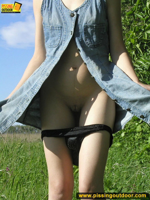 Young chick removes panties and stands pissing outdoors before tasting her cunt - XXXonXXX - Pic 4