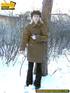 Blonde teen wearing only a coat in winter opens it…