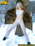 Blonde teen wearing only a coat in winter opens it…