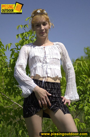 Young cute blonde enjoying a stroll in the woods goes nude to spread legs and pee - XXXonXXX - Pic 5