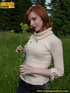 Redhead chick having a picnic in the woods goes…