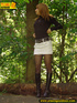 Sweetly dressed chick in high black boots and short white skirt pissing